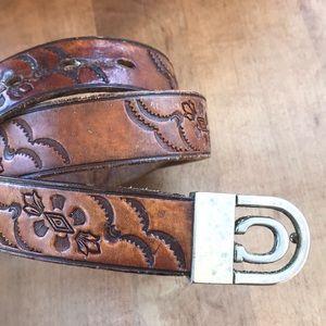 Accessories - Full Grain Cowhide Tooled Belt